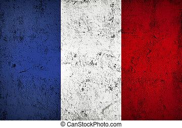 grunge, sucio, y, resistido, bandera francesa