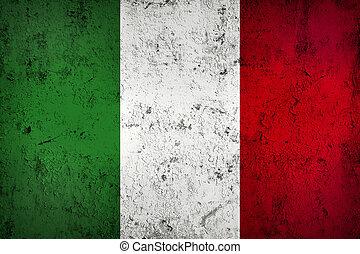 grunge, sucio, y, resistido, bandera italiana