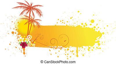 Grunge summer banner - Grunge orange banner with palms and...