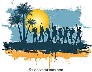 Grunge summer party - Silhouettes of people dancing on a...