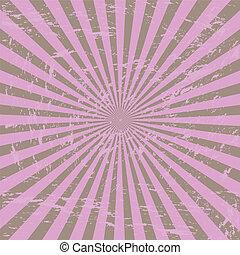 Grunge purple sunburst