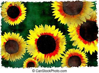 grunge sunflowers