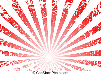 Grunge sunrise background - white and red stripes