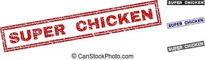 Grunge SUPER CHICKEN Textured Rectangle Stamps