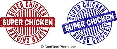 Grunge SUPER CHICKEN Textured Round Stamp Seals
