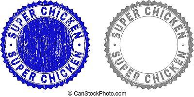 Grunge SUPER CHICKEN Textured Stamp Seals