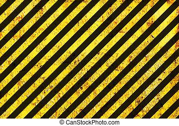 Grunge Black and Orange Surface as Warning or Danger Pattern, Old Metal Textured