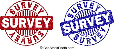 Grunge SURVEY Textured Round Stamp Seals