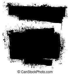 grunge, svart, baner, bläck