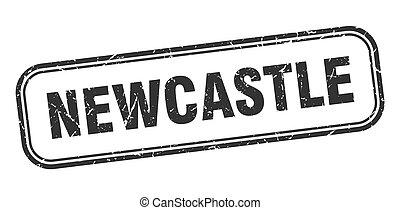 grunge, svart, newcastle, underteckna, stamp., isolerat