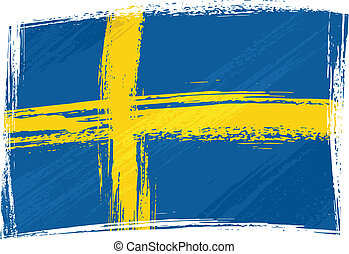 Sweden national flag created in grunge style
