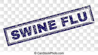 Grunge SWINE FLU Rectangle Stamp