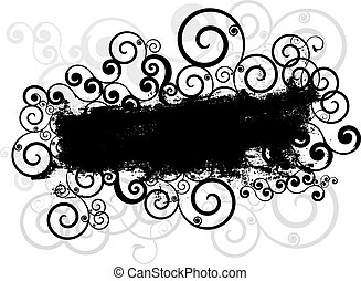 Grunge style background with swirls and curls