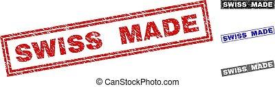 Grunge SWISS MADE Textured Rectangle Stamp Seals