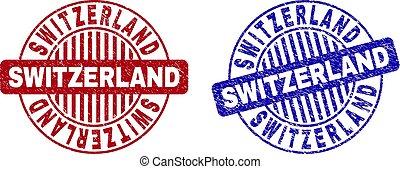Grunge SWITZERLAND Scratched Round Stamp Seals