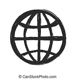 grunge symbol of planet earth, vector illustration