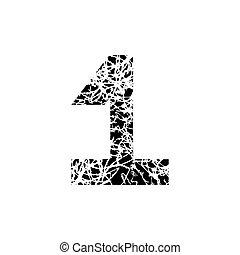 grunge, symbole, une, nombre, conception, textured, police, 1.