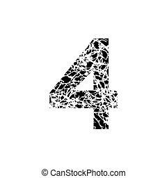 grunge, symbool, getal, 4., ontwerp, vier, textured, lettertype