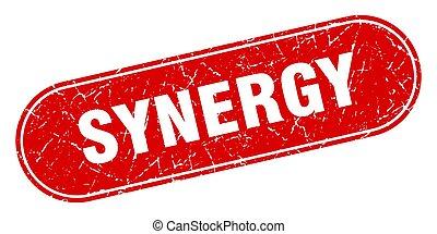 grunge, synergie, étiquette, signe., rouges, stamp.