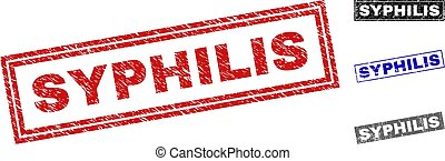 Grunge SYPHILIS Scratched Rectangle Stamp Seals