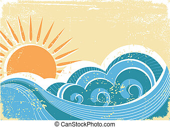 grunge, szüret, ábra, vektor, waves., tenger, táj