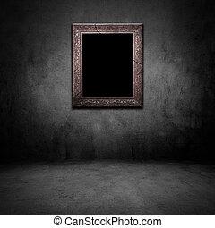 grunge, szoba, fénykép keret, sötét, öreg