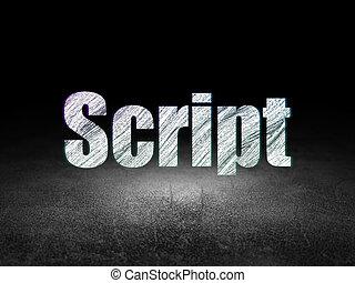 grunge, szoba, forgatókönyv, programozás, sötét, concept: