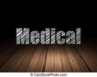 grunge, szoba, orvosi, sötét, orvosság, concept: