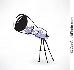 grunge, télescope, icône