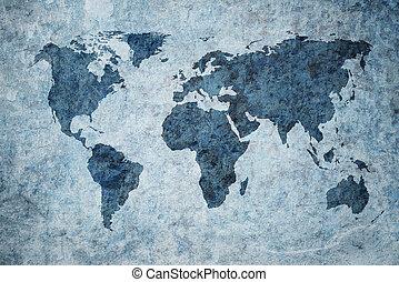 grunge, térkép, világ