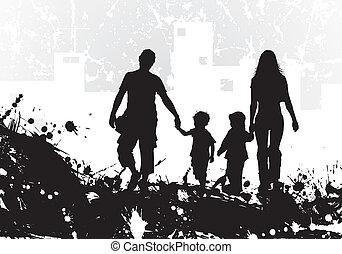 grunge, tło, z, rodzina, sylwetka