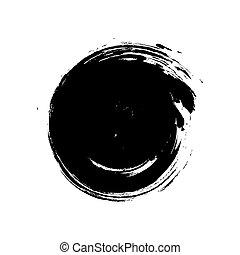 grunge, tache, hand-drawn, noir, blanc, rond