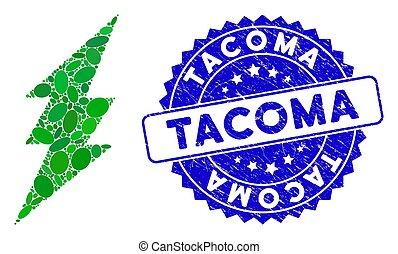 grunge, tacoma, exécuter, timbre, mosaïque, icône