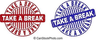 Grunge TAKE A BREAK Textured Round Stamps - Grunge TAKE A...