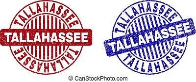Grunge TALLAHASSEE Textured Round Stamp Seals