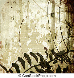 Grunge tangled branches on antique bamboo paper