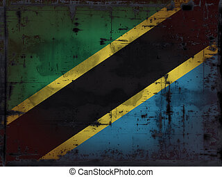 grunge background - tanzania flag - illustration