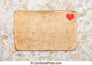 grunge, tarjeta de papel, con, corazón