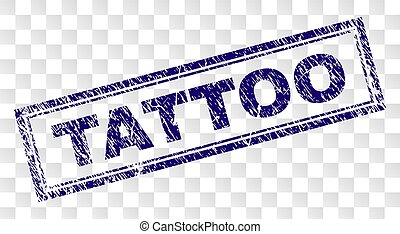 Grunge TATTOO Rectangle Stamp - TATTOO stamp seal print with...