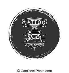 Grunge tattoo studio logo