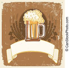 grunge, tekst, ilustracja, piwo, wektor, tło.