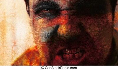 grunge, tekst, verschrikking, drie, zombie, w