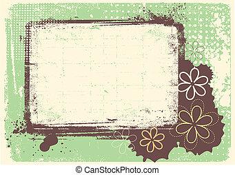 grunge, tekst, versiering, vector, achtergrond, floral