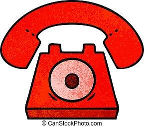 grunge, telefono, struttura, retro, cartone animato, rosso