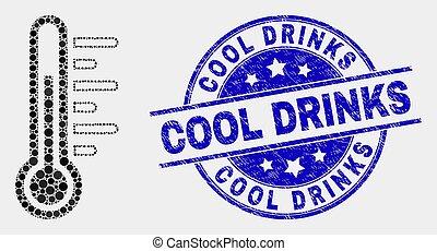 grunge, température, icône, vecteur, cachet, boissons, point, frais