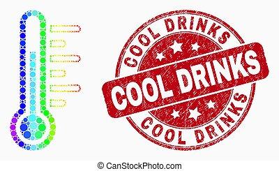 grunge, température, pointillé, timbre, clair, vecteur, icône, frais, boissons