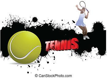 Grunge tennis poster with tennis b