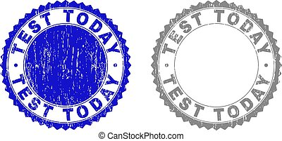 Grunge TEST TODAY Textured Stamp Seals