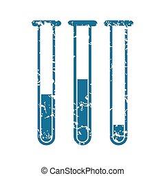 Grunge test tubes icon