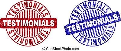 Grunge TESTIMONIALS Textured Round Stamp Seals